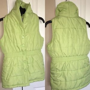 Gymboree Girls Lime Green Puffer Vest Medium 7/8